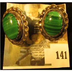 Oval Indian Earrings with Malachite, 1  by ¾ , marked sterling 13.1 g / 8.5 dwt