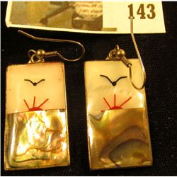 Silver and mother of pearl inlay earrings, sunrise / sunset with flying bird, marked ALPACA, 11.4 G