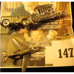 Planes, Trains and Automobiles! 3 sterling charms – a jet, a trolley car, and a convertible car (the