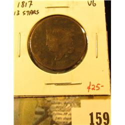 1817 Large Cent, 13 stars, VG, value $25