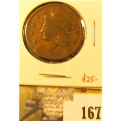 1837 Large Cent, VG/F, value $25