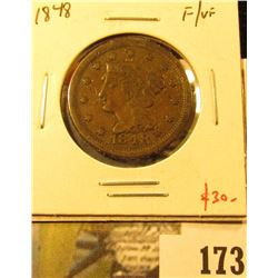 1848 Large Cent, F/VF, value $30