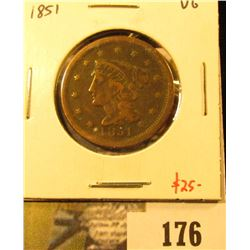 1851 Large Cent, VG, value $25