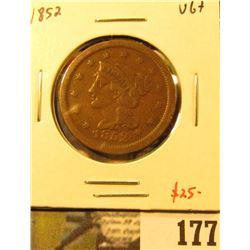 1852 Large Cent, VG+, value $25