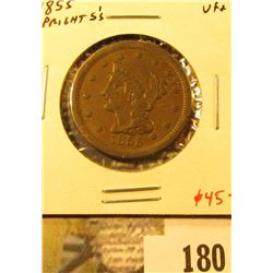 1855 Large Cent, upright 5's, VF+, value $45