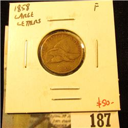 1858 Flying Eagle Cent, Large Letters, F, value $50