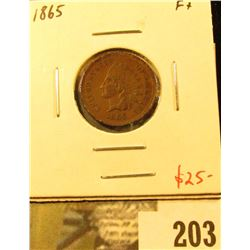 1865 Indian Cent, F, value $25