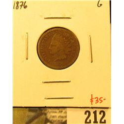 1876 Indian Cent, G, value $35