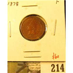 1878 Indian Cent, F, tough date for condition, value $60