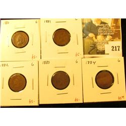 Group of 5 Indian Cents - 1880, 1881, 1882, 1883 & 1884 – all in G, group value $25