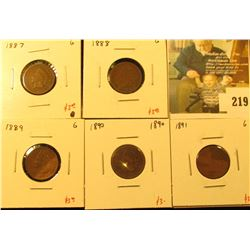 Group of 5 Indian Cents - 1887, 1888, 1889, 1890 & 1891 – all in G, group value $15