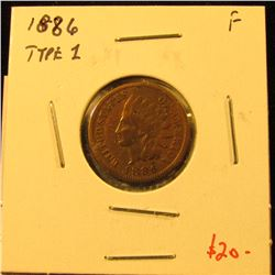 1886 Type 1 Indian Cent, VF, value $20