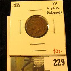 1888 Indian Cent, XF, 4 full diamonds, value $22
