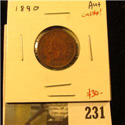 1890 Indian Cent, AU w/luster, 4 full diamonds, value $30