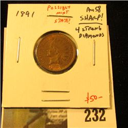 1891 Indian Cent, AU58, possibly (probably) mint state, crusty, original coin with lots of luster! V
