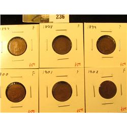 Group of 6 Indian Cents – 1897, 1898, 1899, 1900, 1901 & 1902, all F, group value $30