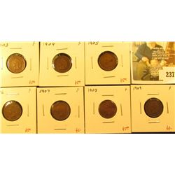 Group of 7 Indian Cents – 1903, 1904, 1905, 1906, 1907, 1908 & 1909, all F, group value $47