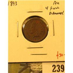1893 Indian Cent, AU, 4 full diamonds, value $30