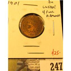 1901 Indian Cent, AU luster! 4 full diamonds, value $25