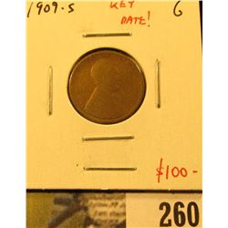 1909-S Lincoln Cent, G, KEY DATE, value $100
