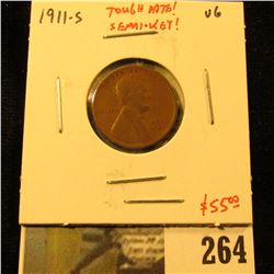 1911-S Lincoln Cent, VG, tough date, semi-key, value $55