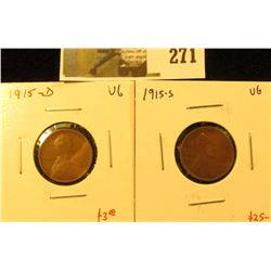 2 Lincoln Cents, 1915-D & 1915-S, both VG, pair value $28