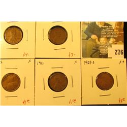 Group of 5 Lincoln Cents, 1920 AU+, 1920-D F, 1920-S F, 1921 F & 1921-S F+, group value $13+