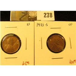 (2) Lincoln Cents, 1923 XF & 1923-S VF, pair value $15
