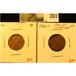 (2) Lincoln Cents, 1926 XF & 1926-S VF, semi-key date, tough grade, pair value $19