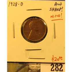 1928-D Lincoln Cent, AU+, sharp & NICE, value $20