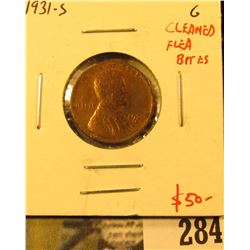 1931-S Lincoln Cent, G, cleaned with flea bites, low cost key date hole filler, value $50+