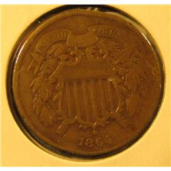 1864 Two Cent Piece, F, value $25