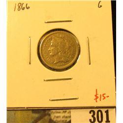 1866 3 Cent nickel, G, vslue $15