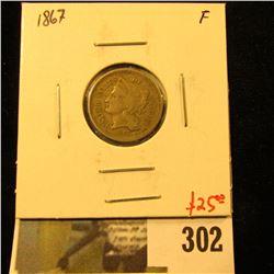 1867 3 Cent nickel, F, value $25