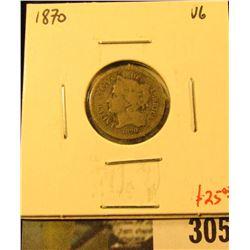 1870 3 Cent nickel, VG, value $25