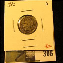 1872 3 Cent nickel, G, value $20