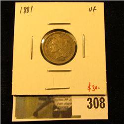 1881 3 Cent nickel, VF, value $30