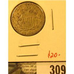 1866 Shield Nickel, F obverse pitting, value $20