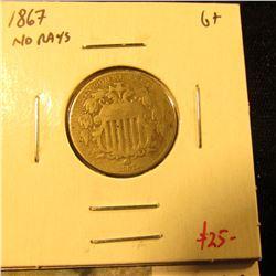 1867 no rays Shield Nickel, G+, value $25