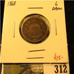 1868 Shield Nickel, G dark, value $15