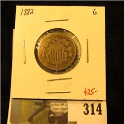 1882 Shield Nickel, G, value $25