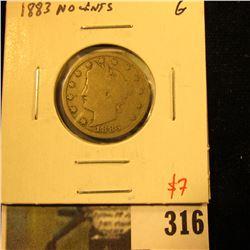 1883 NO CENTS V Nickel, G, value $7