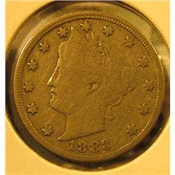 1883 NO CENTS V Nickel, F, value $9