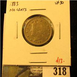 1883 NO CENTS V Nickel, VF30, value $13