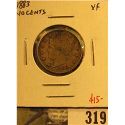 1883 NO CENTS V Nickel, XF, value $15