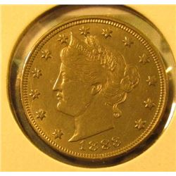 1883 NO CENTS V Nickel, AU58+ (probably UNC), NICE, value $20+