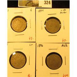 Group of 4 V Nickels, 1891 G, 1894 G obv AG rev, 1895 G+ & 1896 AG/G, group value $25