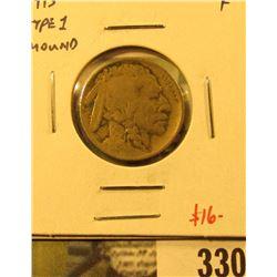 1913 Type 1 (mound) Buffalo Nickel, F, value $16