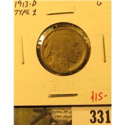 1913-D Type 1 (mound) Buffalo Nickel, G, value $15