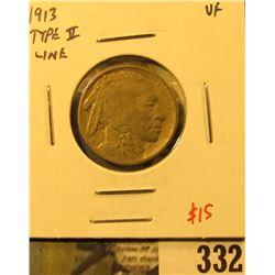 1913 Type 2 (line) Buffalo Nickel, VF, value $15